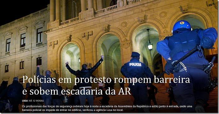 policias protesto parlamento