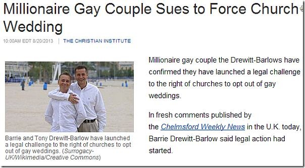 Millionaire Gay Couple Sues to Force Church Wedding