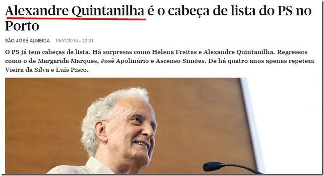 Alexandre Quintanilha cabeça de lista do PS no Porto