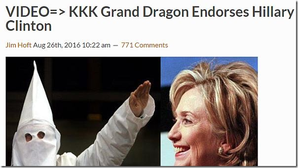 KKK Grand Dragon Endorses Hillary Clinton